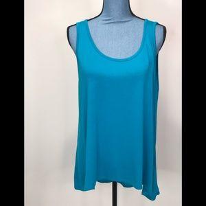 Ellen Tracy Womens Tank Top Turquoise Work Basic
